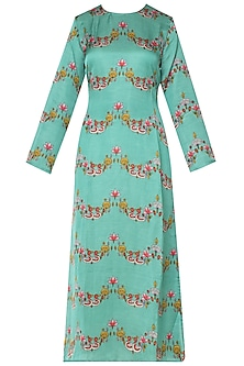 Light Teal Bundi Scallop Printed Kurta