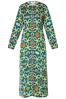 Dark Teal High-Low Printed Kurta