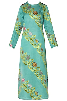 Light Teal Diagonal Bundi Printed Kurta