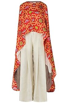 Orange High-Low Layered Printed Cape with Pleated Pants
