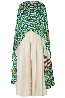 Green High-Low Layered Printed Cape with Pleated Pants