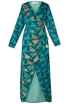 Dark Teal Printed Wrap Dress by Swati Vijaivargie