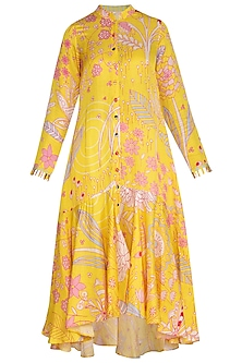 Yellow Floral Printed Tunic by Swati Vijaivargie