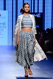 Off White and Teal Blue Printed Crop Top and Skirt Set with jacket by Swati Vijaivargie