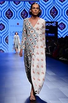 Off White and Teal Blue Half and Half Prnted Wrap Dress by Swati Vijaivargie