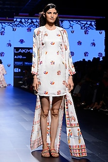Off White Embroidered Short Dress With Front Open Jacket by Swati Vijaivargie