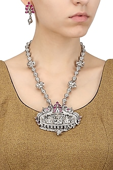 Antique Silver Finish Temple Design Necklace Set by Silver Roots