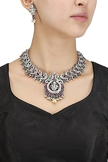 Antique Silver Finish Green and Red Stones Temple Necklace Set