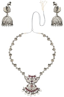 Antique Silver Finish Pink Stones and Pearls Necklace Set by Silver Roots