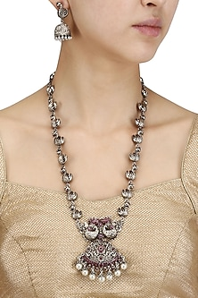 Antique Silver Finish Pink Stones and Pearls Necklace Set