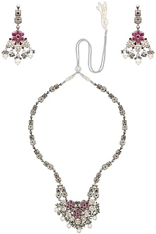 Antique Silver Finish Pink Stone and Pearls Flower Necklace Set by Silver Roots