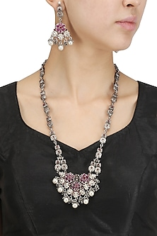 Antique Silver Finish Pink Stone and Pearls Flower Necklace Set