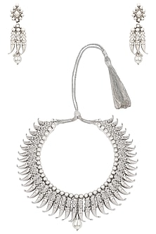 Antique Silver Finish Tribal Designed Necklace Set by Silver Roots