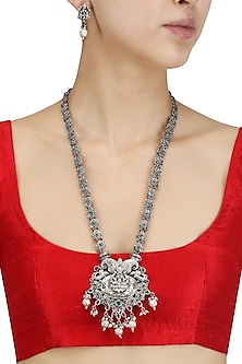 Antique Silver Finish Red and Green Stones Temple Necklace Set
