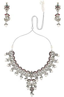 Antique Silver Finish Red and Green Stones Choker Set by Silver Roots
