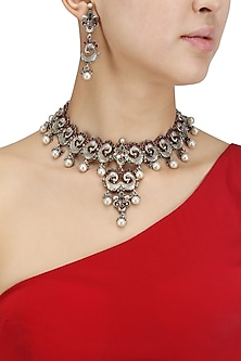 Antique Silver Finish Red and Green Stones Choker Set