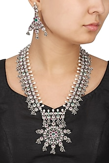 Antique Silver Finish Glass Shaped Ghungroo Necklace Set