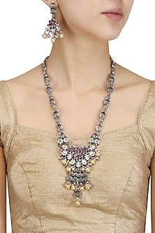 Antique Silver Finish Pink and Green Flower Stones Necklace Set by Silver Roots