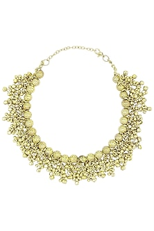 Oxidised Gold Plated Ghungroo Choker Necklace by Silver Roots