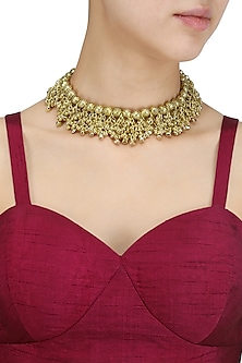 Oxidised Gold Plated Ghungroo Choker Necklace