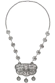 Oxidised Silver Plated Elephant Pendant Coin Necklace by Silver Roots