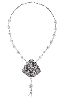 Oxidised Silver Plated Ganpati Idol Necklace by Silver Roots