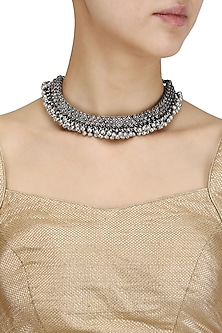 Oxidesed Silver Plated Ghungroo Choker by Silver Roots