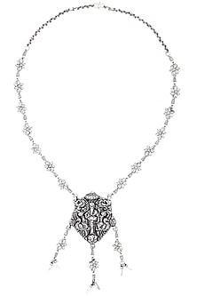Oxidised Silver Plated Ganesh Idol Necklace by Silver Roots