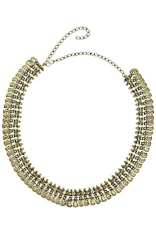 Oxidised Gold Plated Temple Rope and Coin Necklace by Silver Roots