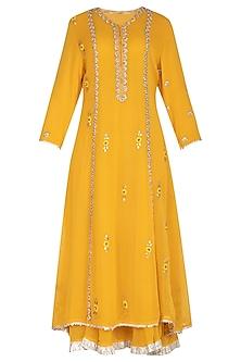Yellow Embroidered Layered Kurta Set by Swati Jain