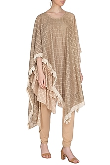 Beige Lace Cape With Pants & Slip by Swati Jain