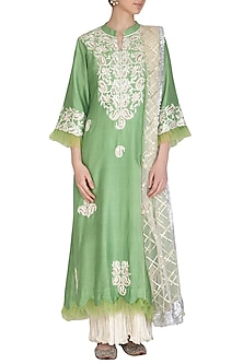 Green Embroidered Kurta With Dupatta & Inner by Swati Jain