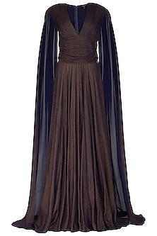 Dark Brown Flared Gown With Long Sleeves by Swatee Singh