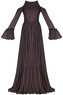 Dark Brown Flared Cold Shoulder Gown by Swatee Singh