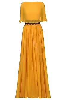 Mustard Overlay Cape Gown by Swatee Singh
