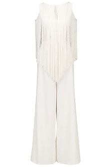 Ivory Fringe Jumpsuit by Swatee Singh