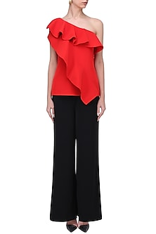 Crimson One Shoulder Top by Swatee Singh