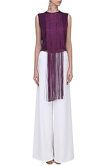 Purple Fringe Crop Top by Swatee Singh