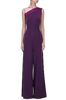 Purple Lace Appliqued Jumpsuit by Swatee Singh