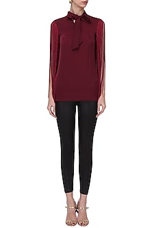Maroon Scarf Collar Top by Swatee Singh
