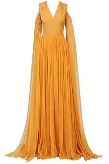 Mustard Cold Shoulder Drape Gown by Swatee Singh