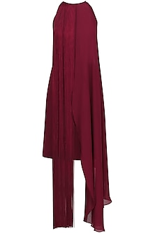 Maroon Fringe Halter Neck Dress