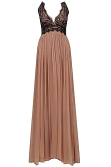 Sand Color and Black Lace Gown