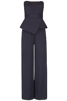 Black Peplum Style Tube Panelled Jumpsuit