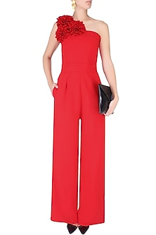 Crimson Red One Shoulder Flower Jumpsuit by Swatee Singh