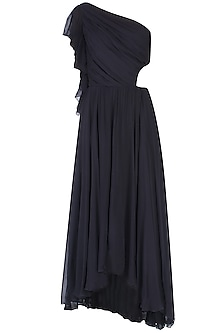 Black One Shoulder Cut Out Ruffle Maxi Dress by Swatee Singh