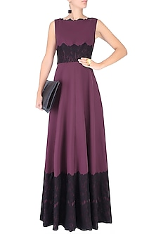 Deep Purple Lace Applique Fay Gown by Swatee Singh