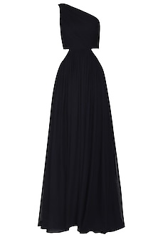 Navy Blue Gathered One Shoulder Gown