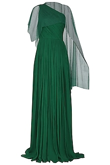 Dark Green One Shoulder Pleated Gown