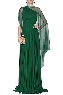 Dark Green One Shoulder Pleated Gown by Swatee Singh